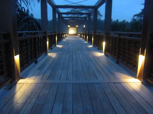 フォーシーズンズ リゾート バリ アット サヤン エントランスの白い橋 夜